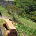 障害木で修景ベンチ