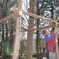 間伐材で足場組み