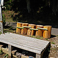 子供水場に連立丸太椅子