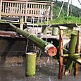 竹管噴水と水車